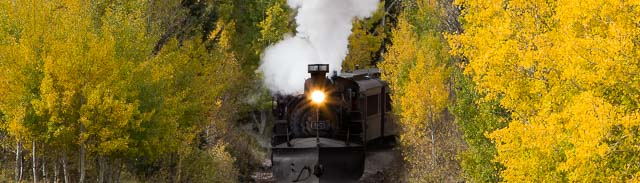 Cumbres & Toltec excursion train in aspens north of Chama NM, October 8, 2014