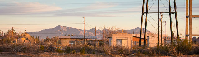 Water towers at sunrise, Columbus NM, February 20, 2015