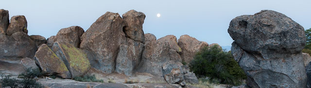 Moonset over rock formations, City of Rocks State Park, Faywood NM, April 11, 2017