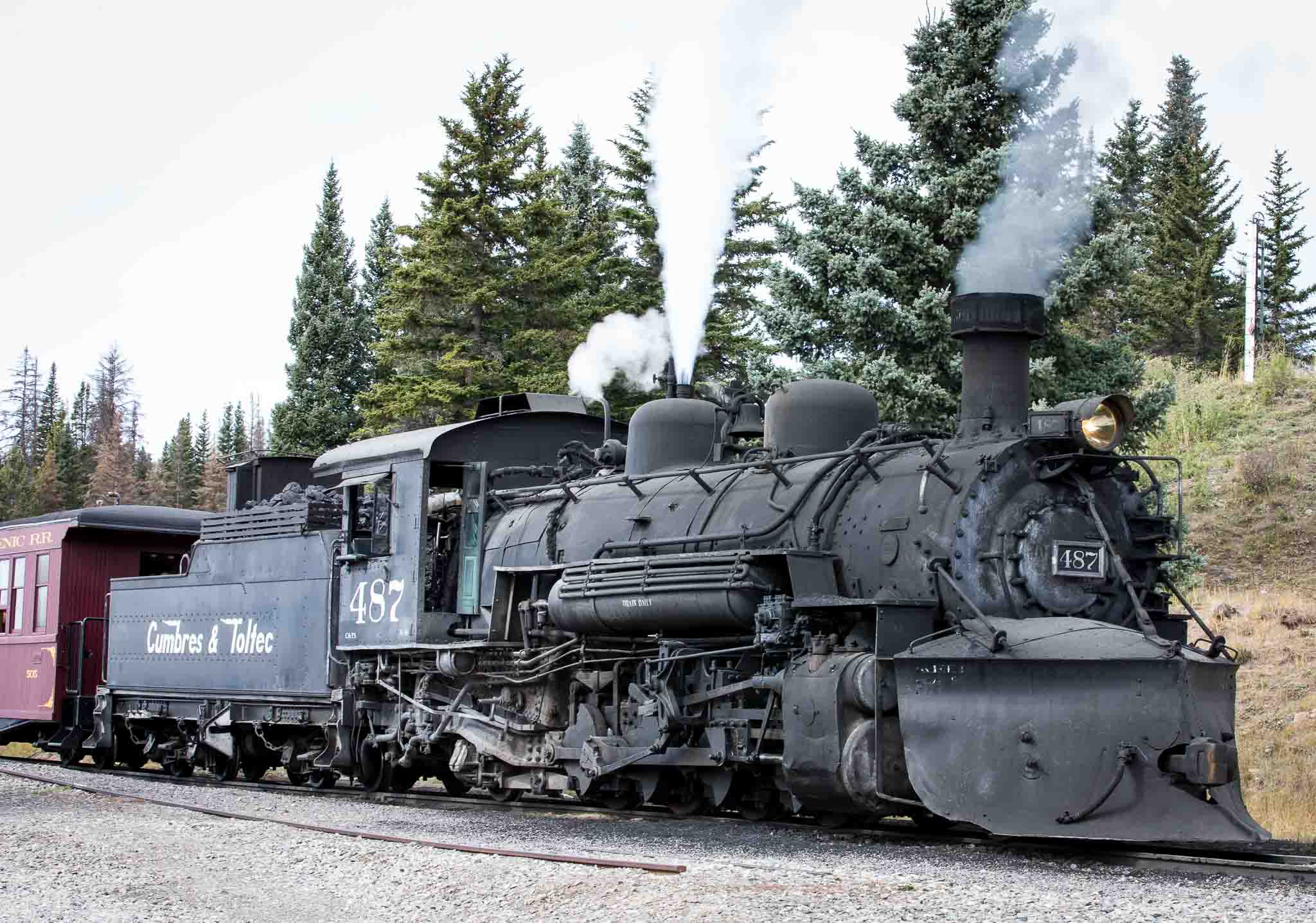 Cumbres & Toltec engine letting off steam at top of Cumbres Pass, October 8, 2014