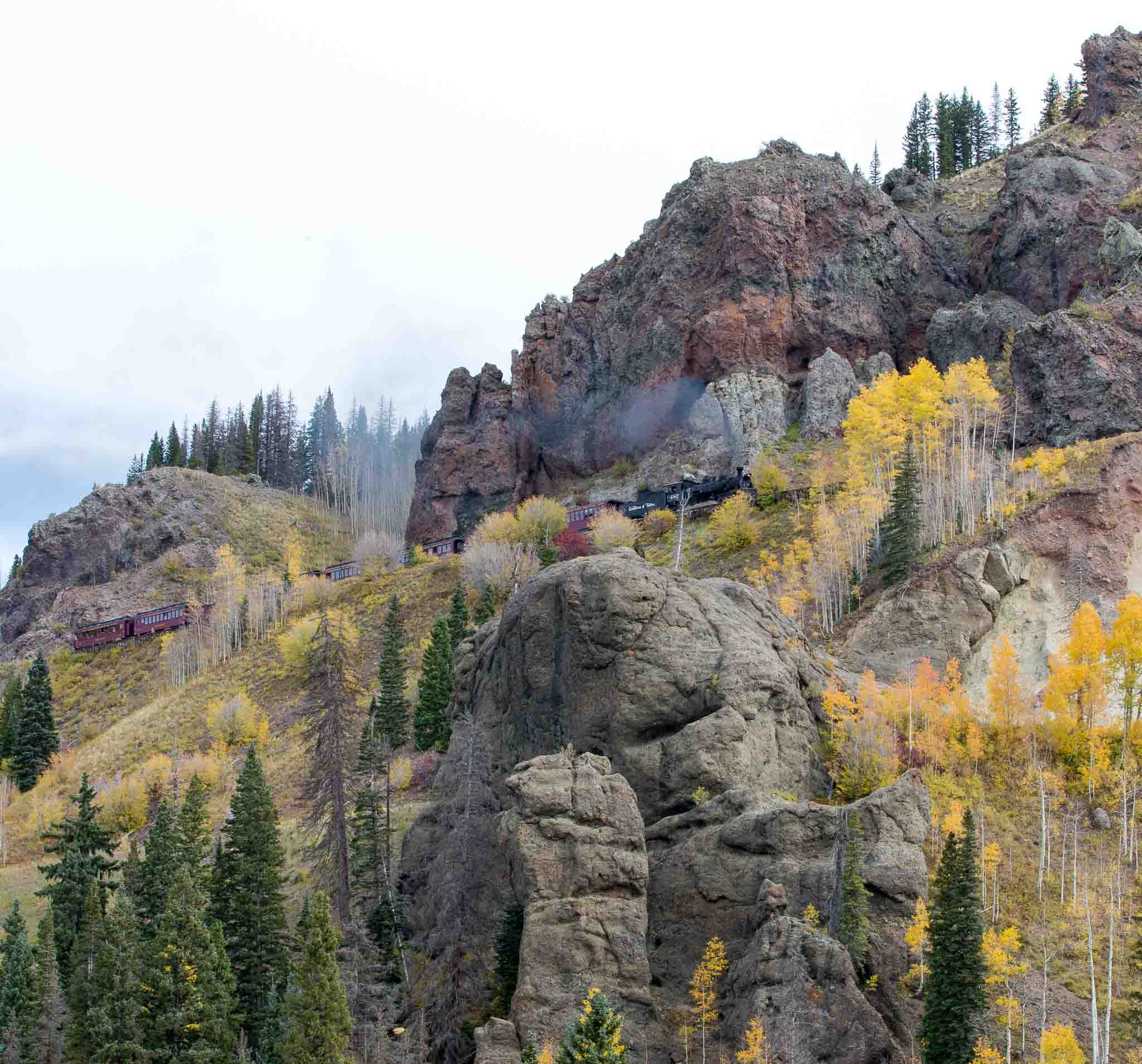 Cumbres & Toltec Excursion train climbing Cumbres Pass
