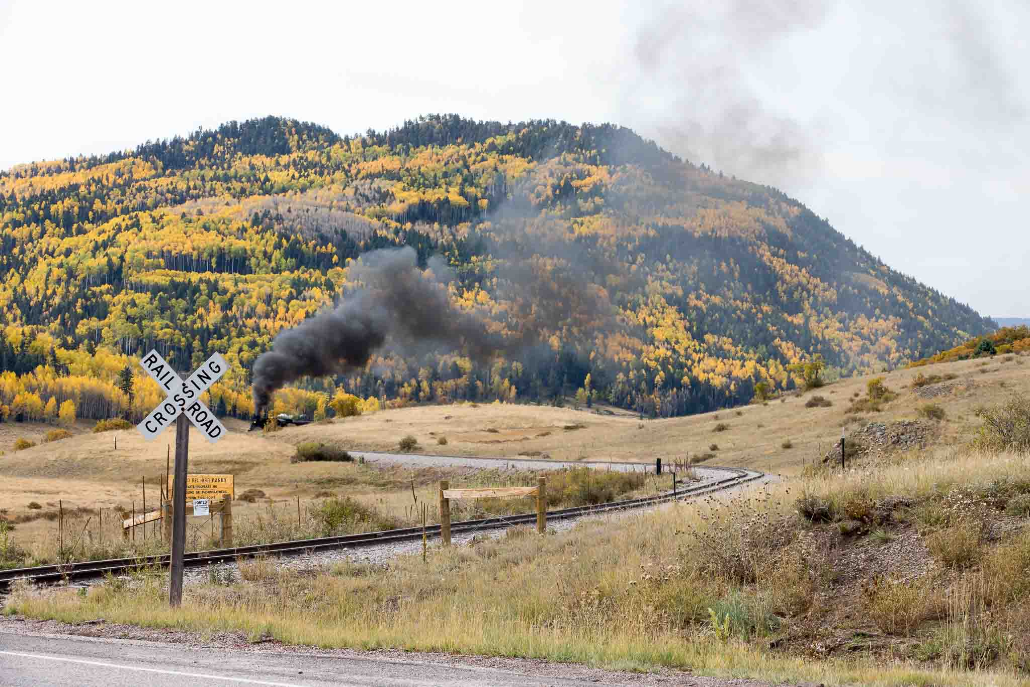Cumbres & Toltec excursion train approaching a railroad crossing north of Chama NM, October 8, 2014