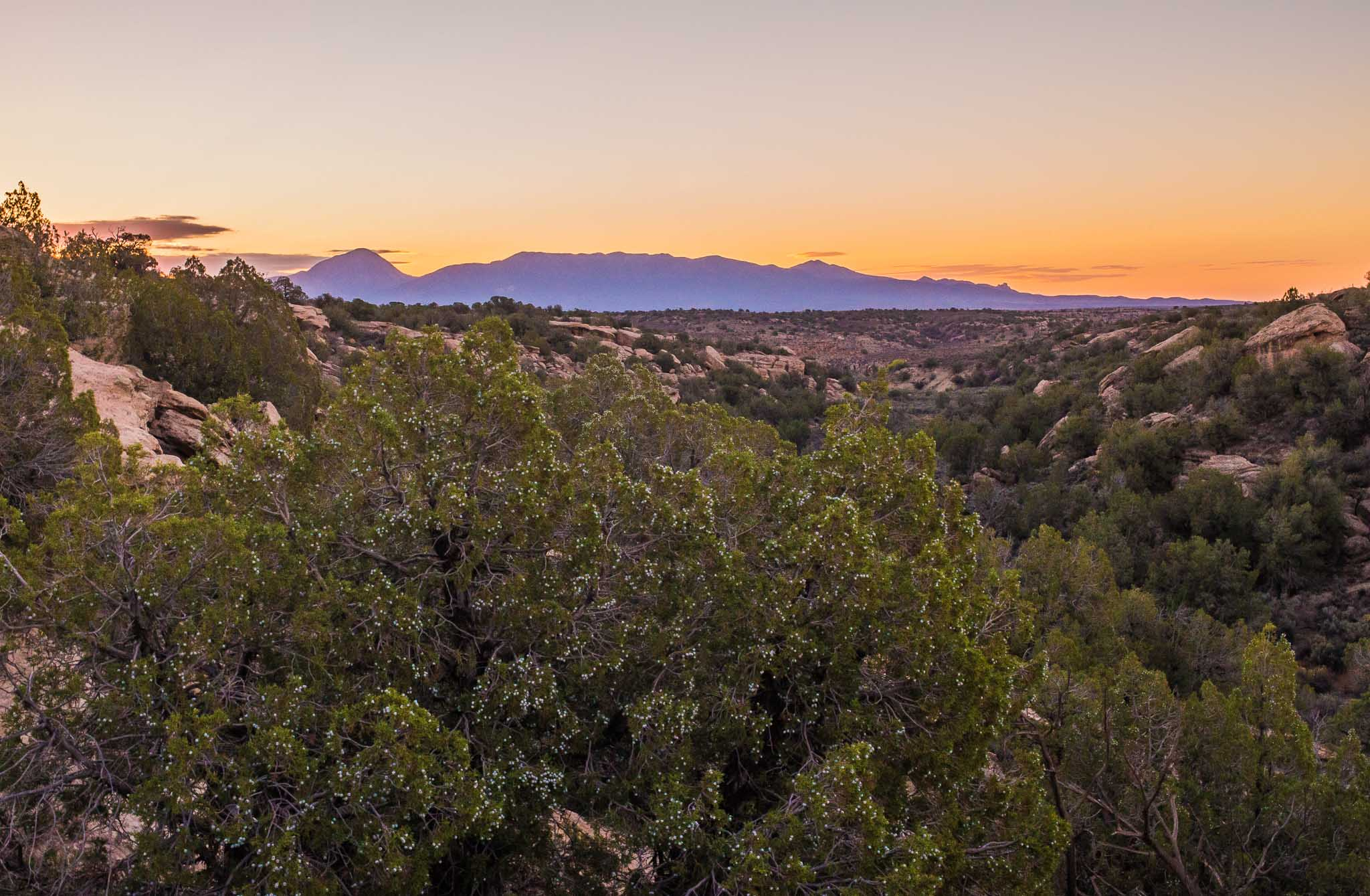 Sleeping Ute Mountain at daybreak taken from Hovenweep National Monument, Aneth UT October 12, 2014