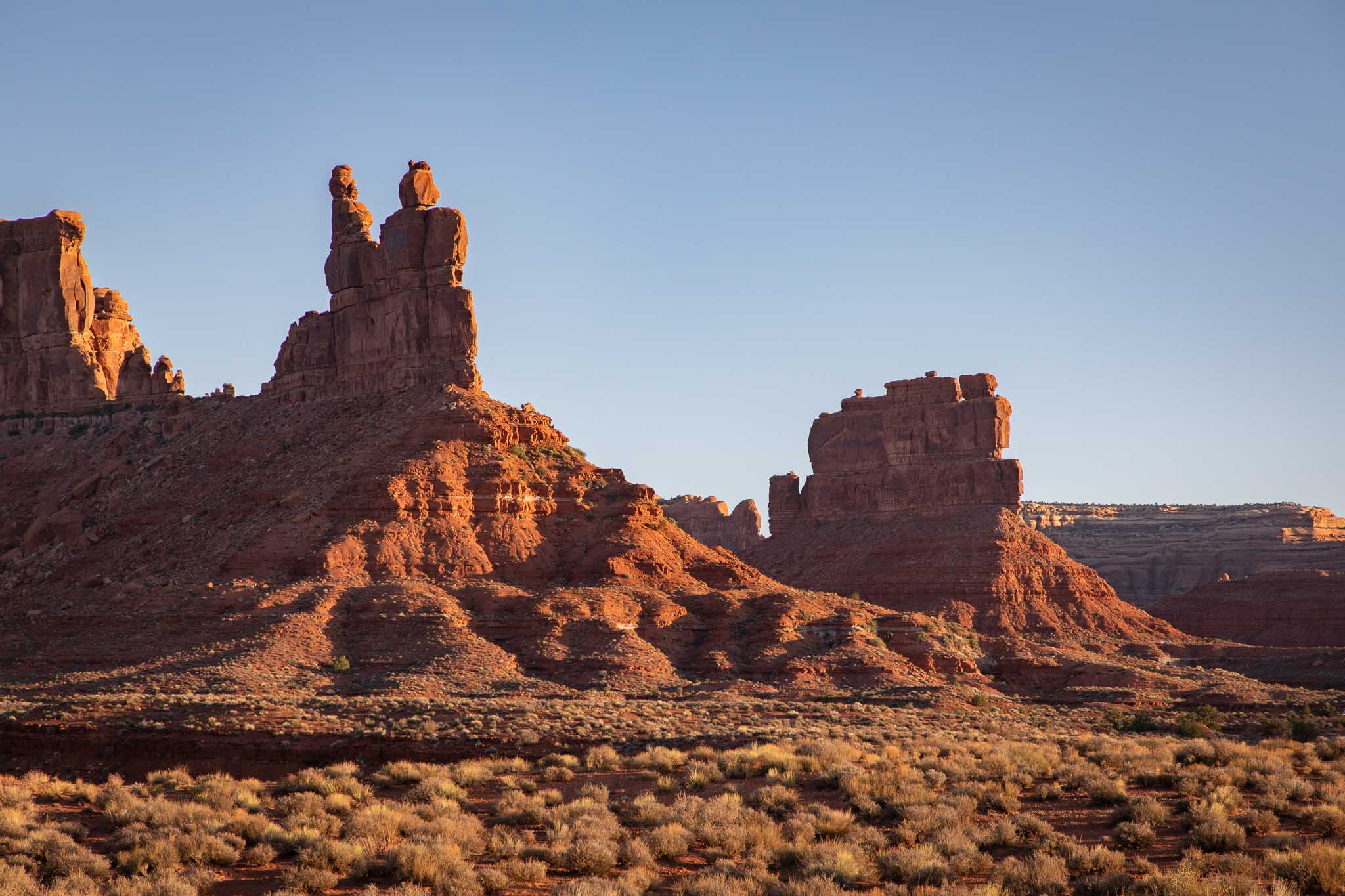 Landscape with Rudolph and Santa Claus rock formation, Valley of the Gods, Mexican Hat UT, May 17, 2018